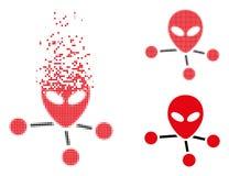 Dot Halftone Alien Connections Icon en mouvement illustration libre de droits