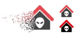 Dot Halftone Alien Home Icon détruit illustration stock