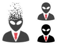 Dot Halftone Alien Manager Icon réduit en fragments illustration stock