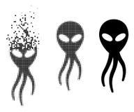 Dot Halftone Alien Microbe Icon dissous illustration libre de droits