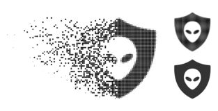 Dot Halftone Alien Protection Icon décomposé illustration stock