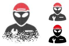 Dot Halftone Alien Serviceman Icon détruit illustration de vecteur