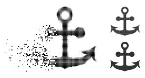 Dot Halftone Anchor Icon cassé illustration stock