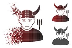Dot Halftone Ancient Warrior Icon en mouvement avec le visage Illustration Stock