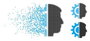 Dot Halftone Android Robotics Icon réduit en fragments illustration stock