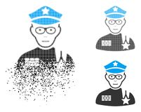Dot Halftone Army General Icon en mouvement avec le visage illustration stock