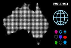 Dot Halftone Australia Map. Bright pixel halftone Australia map. Geographic map in bright color shades on a black background. Vector collage of Australia map stock illustration