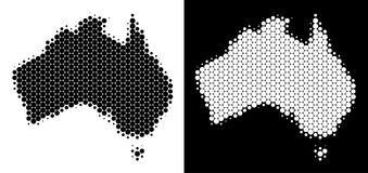 Dotted Halftone Australia Map. Dot halftone Australia map. Vector geographic scheme on white and black backgrounds. Abstract collage of Australia map created royalty free illustration