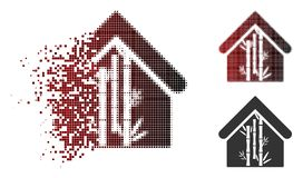 Dot Halftone Bamboo House Icon déchiqueté Illustration Stock