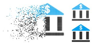 Dot Halftone Bank Building Icon de désintégration illustration stock