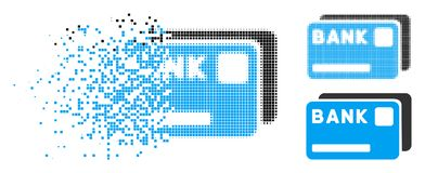 Dot Halftone Bank Cards Icon rompu illustration de vecteur
