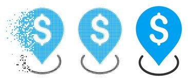 Dot Halftone Bank Placement Icon endommagé illustration de vecteur
