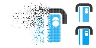 Dot Halftone Bank Terminal Icon rompu illustration stock