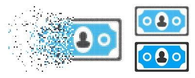 Dot Halftone Banknote Icon quebrado ilustración del vector