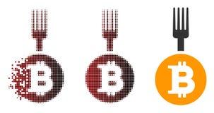 Dot Halftone Bitcoin Fork Icon decomposto Illustrazione Vettoriale