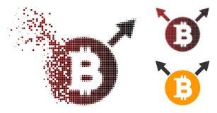 Dot Halftone Bitcoin Fork Icon fratturato Royalty Illustrazione gratis