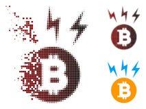 Dot Halftone Bitcoin Lightnings Icon tagliuzzato Illustrazione di Stock