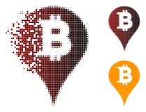 Dot Halftone Bitcoin Marker Icon muoventesi Illustrazione Vettoriale