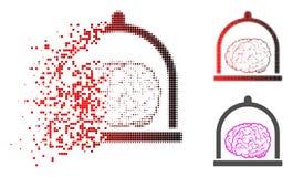 Dot Halftone Brain Conservation Icon de dissolução ilustração stock