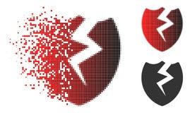 Dot Halftone Broken Shield Icon dissous illustration libre de droits