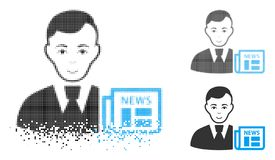 Dot Halftone Businessman News Icon de disparition avec le visage illustration de vecteur