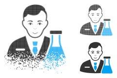 Dot Halftone Chemistry Man Icon fraturado com cara ilustração royalty free
