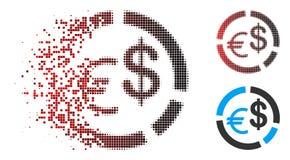 Dot Halftone Currency Diagram Icon déchiqueté avec le visage illustration stock