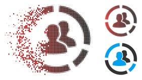 Dot Halftone Demography Diagram Icon rompu avec le visage illustration de vecteur