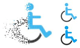 Dot Halftone Disabled Person Icon decomposto ilustração stock