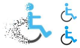Dot Halftone Disabled Person Icon decomposto illustrazione di stock