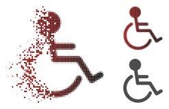 Dot Halftone Disabled Person Icon réduit en fragments Illustration Libre de Droits