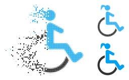 Dot Halftone Disabled Woman Icon di scomparsa illustrazione vettoriale