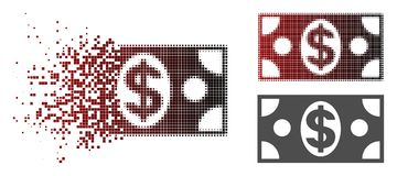 Dot Halftone Dollar Banknote Icon disuelto libre illustration