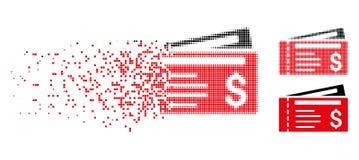 Dot Halftone Dollar Cheques Icon réduit en fragments illustration libre de droits