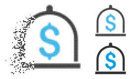 Dot Halftone Dollar Deposit Icon réduit en fragments illustration stock