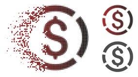 Dot Halftone Dollar Diagram Icon endommagé illustration libre de droits