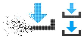 Dot Halftone Download Container Icon Destructed stock de ilustración