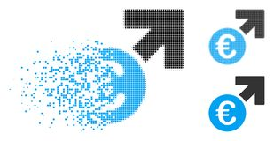 Dot Halftone Euro Growth Icon dispersé Illustration Libre de Droits