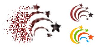 Dot Halftone Festival Fireworks Icon de desintegración ilustración del vector