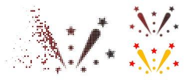 Dot Halftone Fireworks Explosion Icon Shredded ilustração royalty free