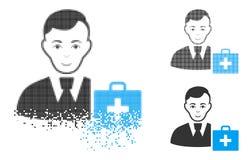 Dot Halftone First-Aid Manager Icon de desintegração com cara ilustração royalty free