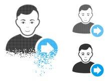 Dot Halftone Following User Icon dissipato con il fronte illustrazione vettoriale