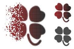Dot Halftone Four-Leafed Clover Icon hecho fragmentos stock de ilustración