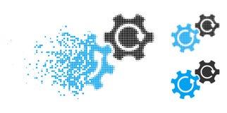 Dot Halftone Gears Rotation Icon dissipado ilustração do vetor