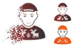 Dot Halftone Geek Icon dispersado ilustração stock