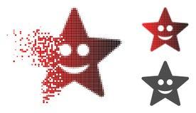 Dot Halftone Happy Star Icon rompu illustration libre de droits