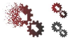 Dot Halftone Integration Gears Icon dissipado ilustração do vetor