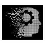Dot Halftone Intellect Gear Icon di disintegrazione intelligente illustrazione di stock