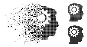 Dot Halftone Intellect Gear Icon fratturato royalty illustrazione gratis