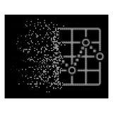 Dot Halftone Line Plot Icon dissipato bianco illustrazione vettoriale